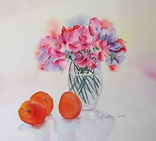 Sweet peas and apricots by Beatrice Cloake