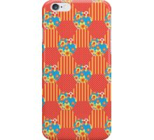Orange Floral Faux Patchwork Hexagons Pattern iPhone Case/Skin