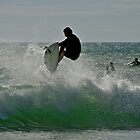 Hang time.....surfing the spray by Helen Vercoe
