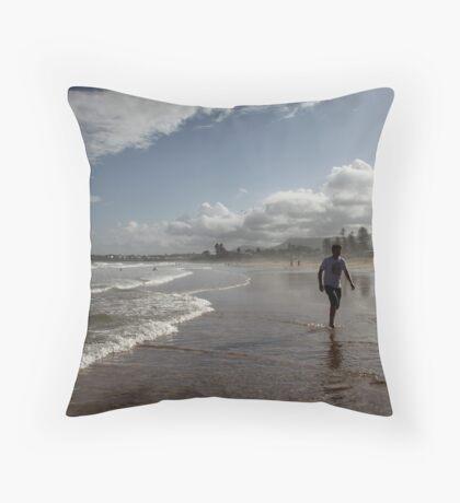 Beach Running Throw Pillow
