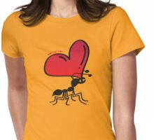 Ant Carrying the Love's Heart Womens Fitted T-Shirt