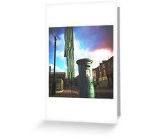 Blue Pillar Box and Skyscraper. Manchester. England. Greeting Card