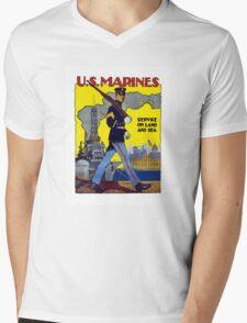 U.S. Marines -- Service On Land And Sea Mens V-Neck T-Shirt