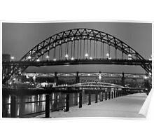 Tyne Bridge Black and White Poster