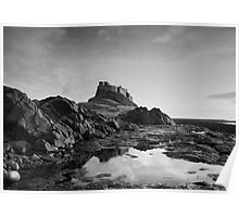 Lindisfarne Castle Black and White Poster