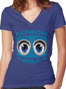 RAINBOW MIKA Women's Fitted V-Neck T-Shirt