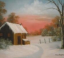 Cabin in the Snow by Vivian Eagleson