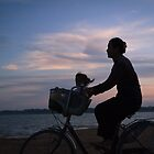 Silhouette of a Cycling Woman by thesiracusas