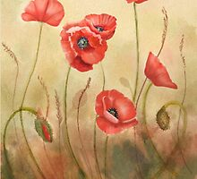 Red Poppies On Cream  by Joan A Hamilton