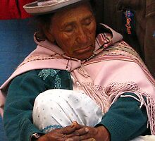 Its been a busy day, Market trader asleep on the job, Weekend market Lake Titticaca, Peru  by suellewellyn