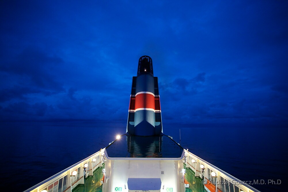 5 ★★★★★ . Nighfall on Baltic Sea  on a board  MF Scandinavia . by Brown Sugar. F* Featured in All Water in Motion and Reflections in Water . Favorites: 2 Views: 712 . thx! by © Andrzej Goszcz,M.D. Ph.D