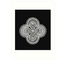 Five bubble detailed mandala white OneMandalaAday Art Print