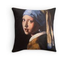 The Girl with a Pearl Earring... Contemporary Throw Pillow