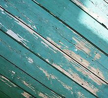 Green wooden boards with blade paint by vladromensky