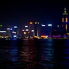 Panoramic View of Wan Chai Hong Kong by Night by Richie Wessen