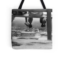 Sitting high....looking at the City.... Tote Bag