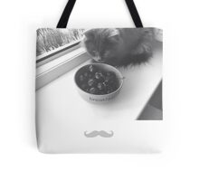 black and white photo of cat with cherry berry and mustache  Tote Bag