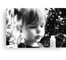 Little Girl Anticipating Fun With Bubbles Canvas Print