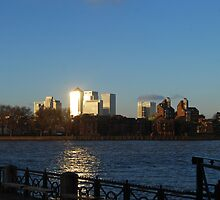 Sunlight on Canary Wharf by Karen Martin