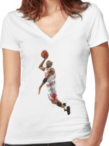 Michael jordan best player of all the time 23. Women's Fitted V-Neck T-Shirt