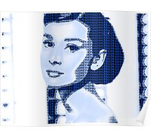Audrey Hepburn Classic Portrait Blue  Poster