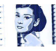 Audrey Hepburn Classic Portrait Blue  Photographic Print