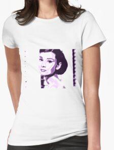 Audrey Hepburn Classic Portrait Purple  Womens Fitted T-Shirt