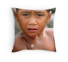 Boy in the Rain Throw Pillow