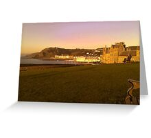View overlooking Aberystwyth Town at Sunset Greeting Card