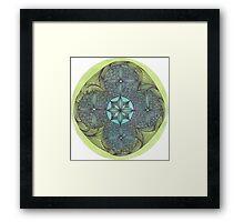 mandala ink on watercolor green turqoise OneMandalaAday Framed Print