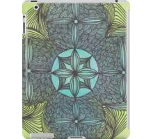 mandala ink on watercolor green turqoise OneMandalaAday iPad Case/Skin