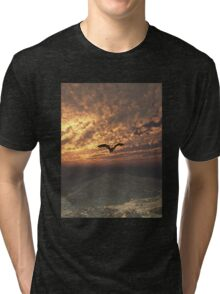 Dragon Flying at Sunset Tri-blend T-Shirt