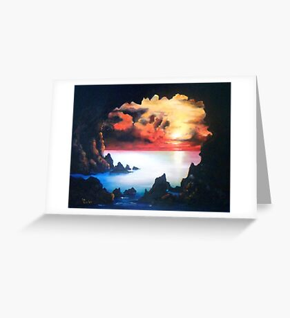 Sea Cave and Sunset; After the Storm Greeting Card