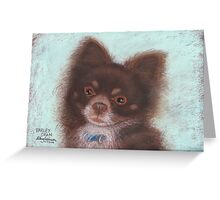 Harley Dean, long-haired Chihuahua Greeting Card