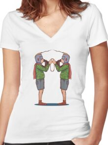 "Kid Luchadores ""The Tag Team"" Women's Fitted V-Neck T-Shirt"