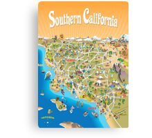 Sunny Cartoon Map of Southern California Canvas Print