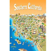 Sunny Cartoon Map of Southern California Photographic Print