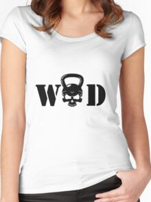 WOD Kettlebell Skull Black Women's Fitted Scoop T-Shirt