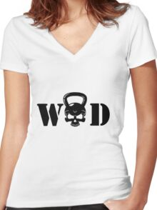 WOD Kettlebell Skull Black Women's Fitted V-Neck T-Shirt