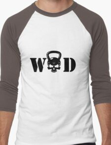 WOD Kettlebell Skull Black Men's Baseball ¾ T-Shirt