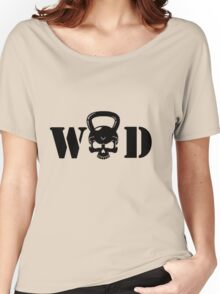 WOD Kettlebell Skull Black Women's Relaxed Fit T-Shirt
