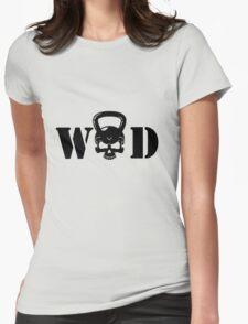 WOD Kettlebell Skull Black Womens Fitted T-Shirt