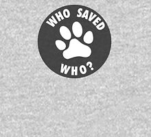 WHO SAVED WHO? - White Unisex T-Shirt