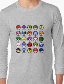 Pokeballs - pixel art Long Sleeve T-Shirt