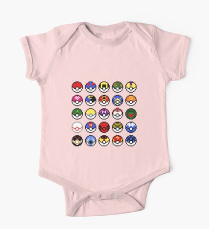 Pokeballs - pixel art One Piece - Short Sleeve