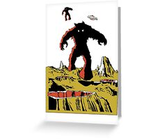 Space Invaders Moon Crater Monster Greeting Card