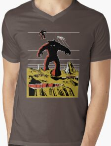 Space Invaders Moon Crater Monster Mens V-Neck T-Shirt