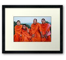 Khmer monks  Framed Print