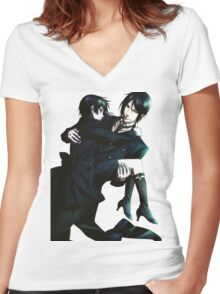 Black Butler - Sebastian and Ciel Women's Fitted V-Neck T-Shirt