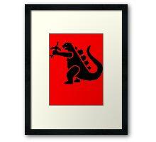 Godzilla Crushing Plane Framed Print